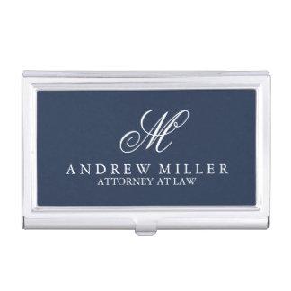 Monograma profesional elegante de la marina de caja de tarjetas de negocios