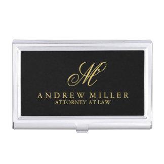 Monograma profesional elegante del negro y del oro caja de tarjetas de negocios