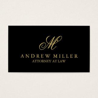 Monograma profesional elegante del negro y del oro tarjeta de negocios