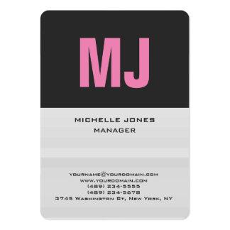 Monograma profesional gris único de moda tarjetas de visita grandes