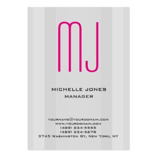 Monograma profesional rosado gris único de moda tarjetas de visita grandes