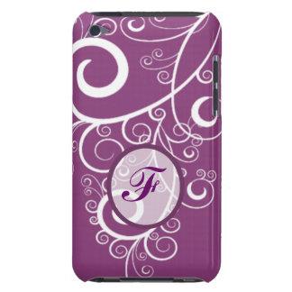 Monograma púrpura de los remolinos del blanco del Case-Mate iPod touch funda
