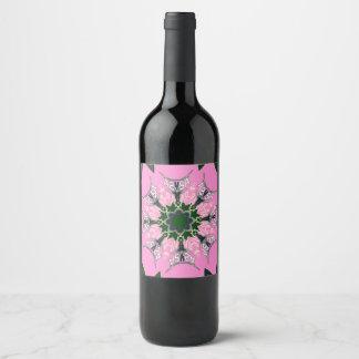 Monograma púrpura del adorno de la sombra de los etiqueta para botella de vino