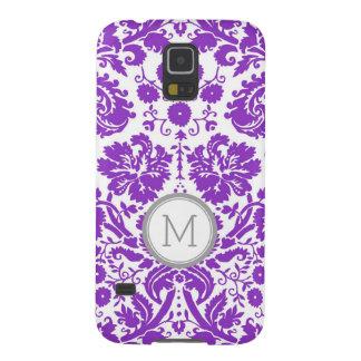 Monograma púrpura del damasco de Samsung Carcasa Galaxy S5