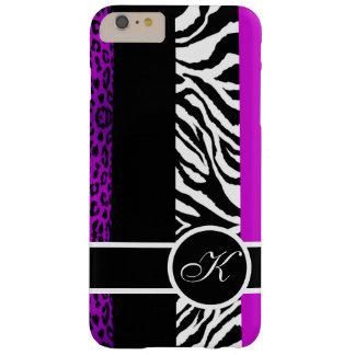 Monograma púrpura del estampado de animales del funda barely there iPhone 6 plus