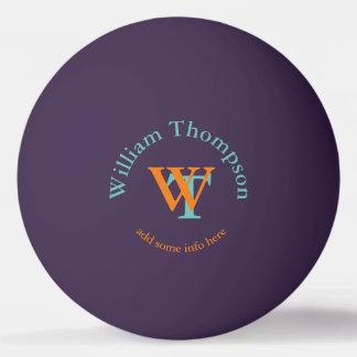 monograma - púrpura personalizada pelota de ping pong