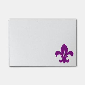 Monograma púrpura y blanco de la flor de lis notas post-it®