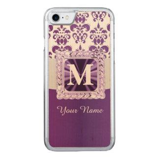 Monograma púrpura y blanco del damasco funda para iPhone 7 de carved