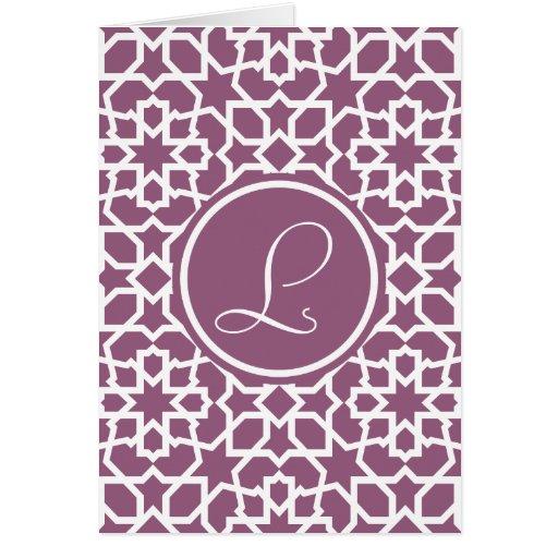 Monograma púrpura y mosaico geométrico de arabesco felicitación