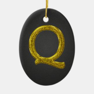 Monograma Q del brillo del oro Adorno Navideño Ovalado De Cerámica