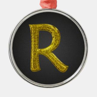 Monograma R del brillo del oro Adorno Navideño Redondo De Metal