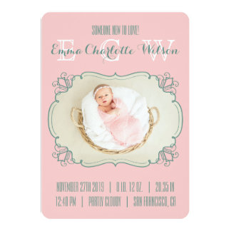 Monograma recién nacido de la foto del bebé de la invitación 12,7 x 17,8 cm