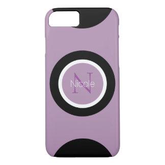 Monograma redondo púrpura del punto negro funda iPhone 7