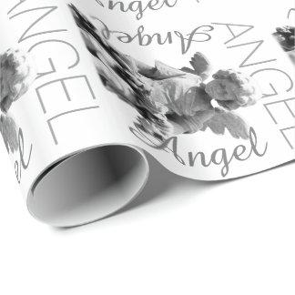 Monograma retro blanco y negro del ángel de guarda papel de regalo