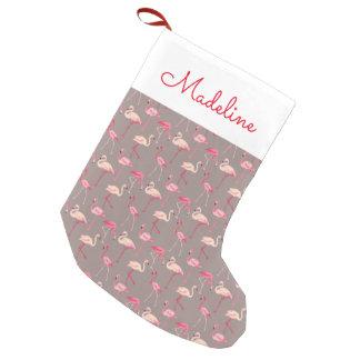 Monograma retro de los flamencos el | calcetín navideño pequeño