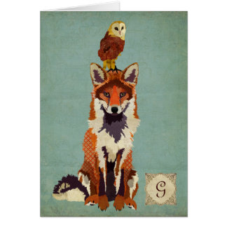 Monograma retro Notecard del Fox y del búho Tarjetas