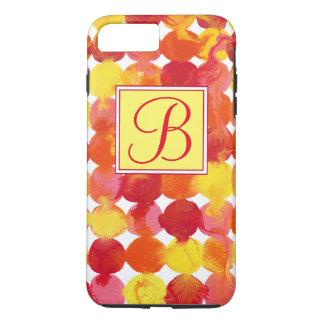 Monograma rojo amarillo-naranja rosado de funda iPhone 7 plus