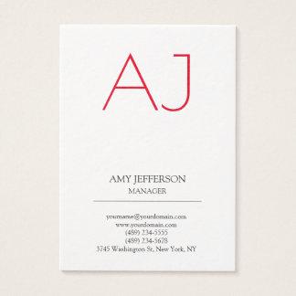Monograma rojo blanco elegante vertical llano tarjeta de visita