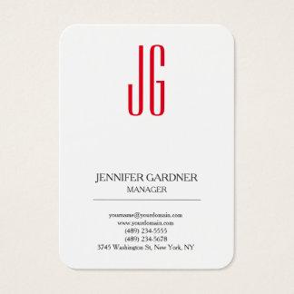 Monograma rojo blanco llano de moda moderno tarjeta de negocios