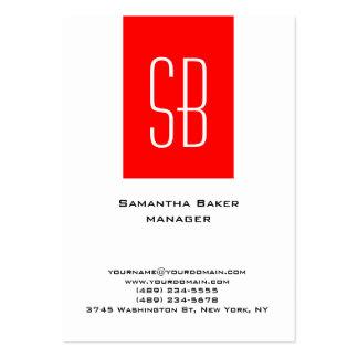 Monograma rojo blanco llano vertical de la raya tarjetas de visita grandes
