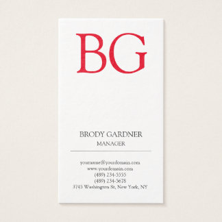 Monograma rojo blanco minimalista llano moderno tarjeta de negocios