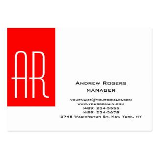 Monograma rojo blanco moderno rechoncho llano de tarjetas de visita grandes