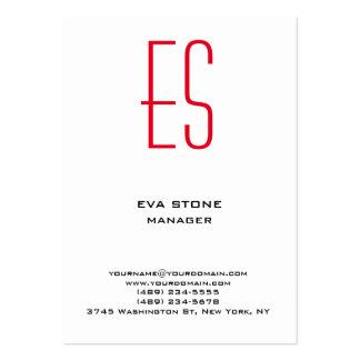 Monograma rojo blanco negro simple llano elegante tarjetas de visita grandes