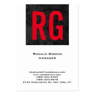 Monograma rojo blanco negro simple llano único tarjetas de visita grandes