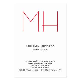 Monograma rojo blanco simple llano único de moda tarjetas de visita grandes