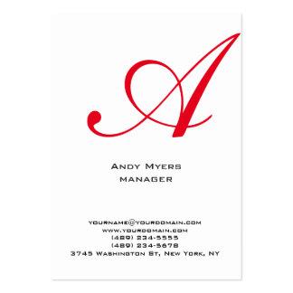 Monograma rojo blanco simple llano vertical tarjetas de visita grandes