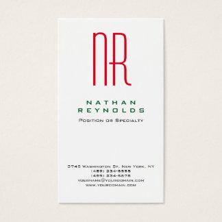 Monograma rojo blanco simple profesional moderno tarjeta de negocios