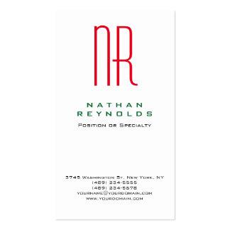 Monograma rojo blanco simple profesional vertical tarjetas de visita