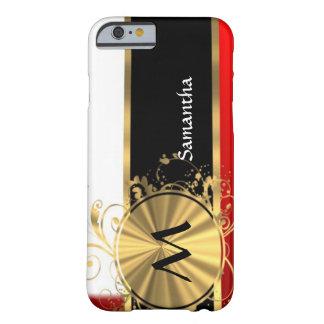 Monograma rojo del blanco y del oro funda de iPhone 6 barely there