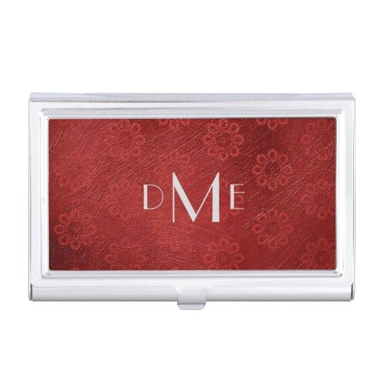 Monograma rojo elegante de la flor cajas de tarjetas de visita