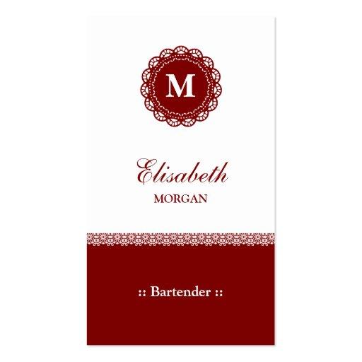 Monograma rojo elegante del cordón del camarero plantillas de tarjetas de visita
