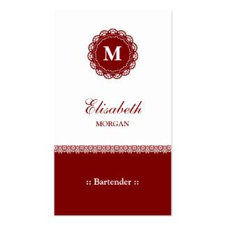 Monograma rojo elegante del cordón del camarero plantilla de tarjeta personal