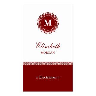Monograma rojo elegante del cordón del electricist plantillas de tarjetas de visita