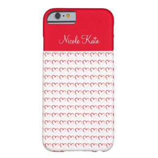 Monograma rojo femenino del amor funda para iPhone 6 barely there