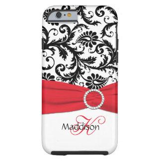 Monograma rojo, iPhone negro, blanco 6 Ca del Funda De iPhone 6 Tough