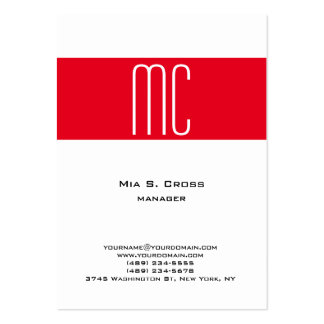Monograma rojo minimalista llano elegante del tarjetas de visita grandes