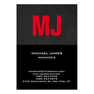 Monograma rojo negro gris único de moda tarjetas de visita grandes
