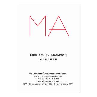 Monograma rojo profesional blanco único de moda tarjetas de visita grandes