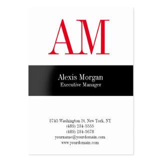 Monograma rojo profesional blanco vertical tarjetas de visita grandes