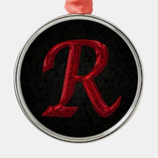 Monograma rojo R de la chispa Adorno Navideño Redondo De Metal