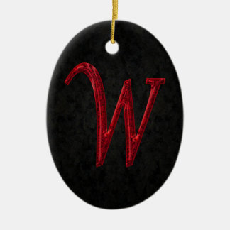 Monograma rojo W de la chispa Adorno Navideño Ovalado De Cerámica