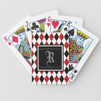 Monograma rojo y negro del modelo del diamante del baraja de cartas bicycle