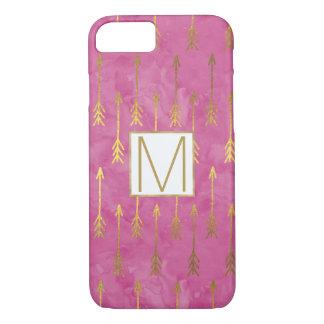 Monograma rosado de las flechas del oro de la funda iPhone 7