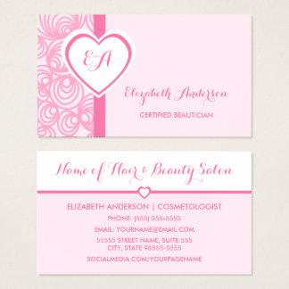 Monograma rosado femenino certificado del corazón