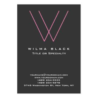 Monograma rosado gris moderno de moda tarjetas de visita grandes