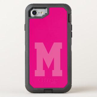 Monograma rosado intrépido del equipo funda OtterBox defender para iPhone 7